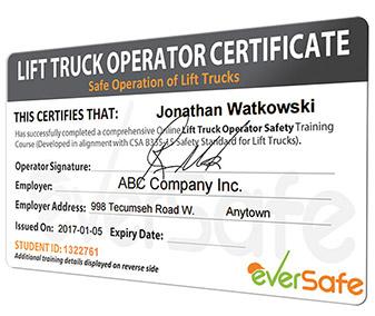 online lift truck certificate